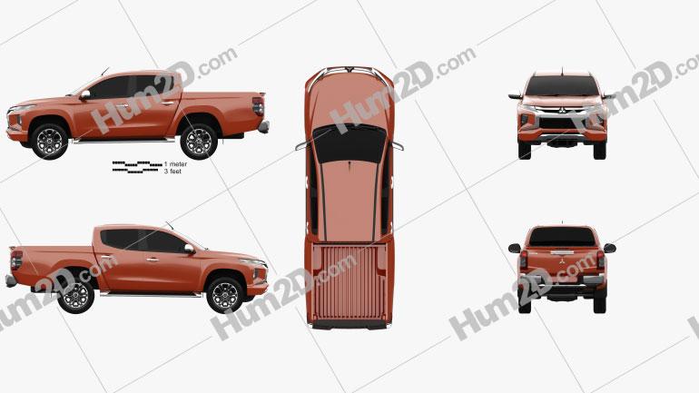Mitsubishi Triton Doppelkabine 2019 Clipart Bild