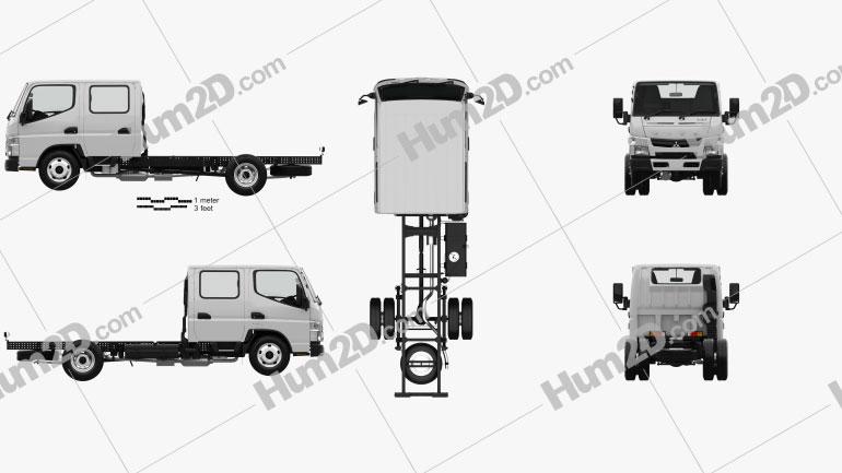 Mitsubishi Fuso Canter (515) City Crew Cab Chassis Truck with HQ interior 2016 clipart