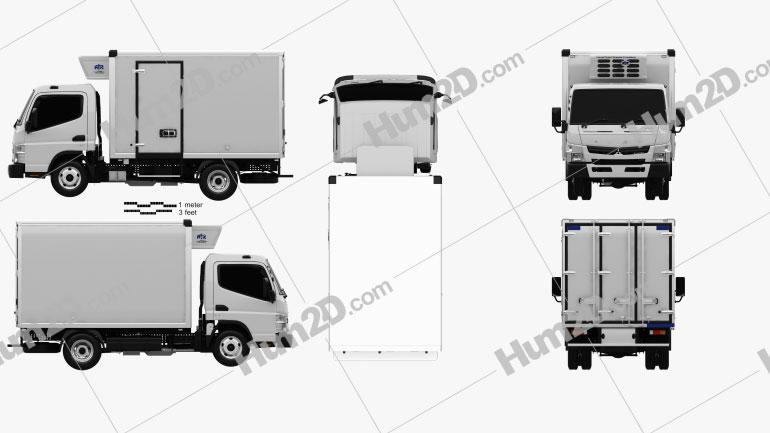 Mitsubishi Fuso Canter (515) Wide Single Cab Refrigerator Truck 2016 clipart