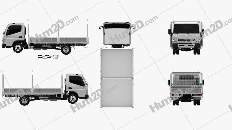 Mitsubishi Fuso Canter (515) Wide Single Cab Tray Truck 2016 clipart