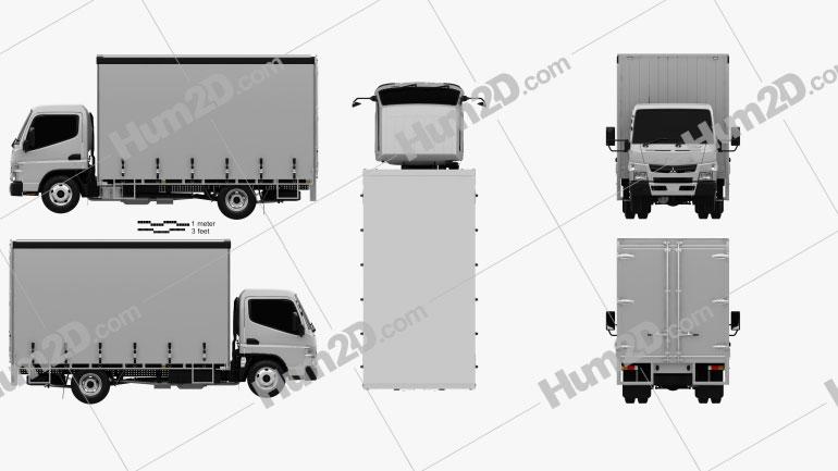 Mitsubishi Fuso Canter (615) Wide Single Cab Curtain Sider Truck 2016 clipart