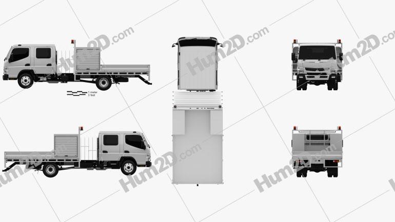 Mitsubishi Fuso Canter (815) Wide Crew Cab Service Truck 2016 clipart