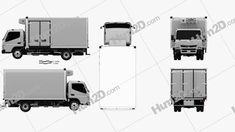 Mitsubishi Fuso Canter (918) Wide Single Cab Refrigerator Truck 2016 clipart
