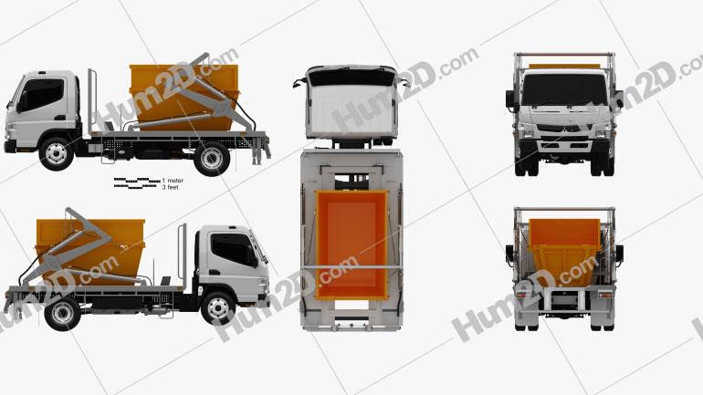 Mitsubishi Fuso Canter (918) Wide Single Cab Skip Bin Truck 2016 clipart
