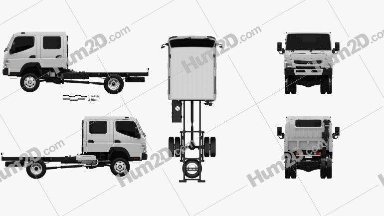 Mitsubishi Fuso Canter (FG) Wide Crew Cab Chassis Truck 2016 clipart