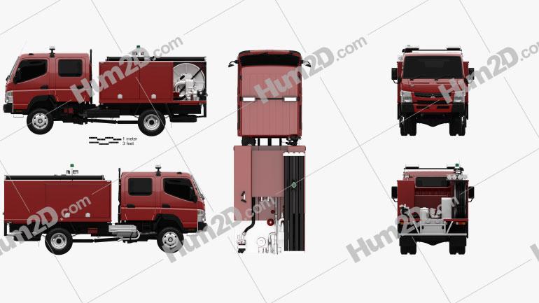 Mitsubishi Fuso Canter (FG) Wide Crew Cab Fire Truck 2016 Clipart Image