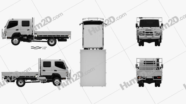 Mitsubishi Fuso Canter (FG) Wide Crew Cab Tray Truck 2016 clipart