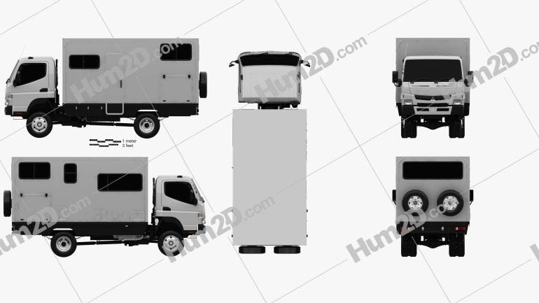 Mitsubishi Fuso Canter (FG) Wide Single Cab Camper Truck 2016 clipart