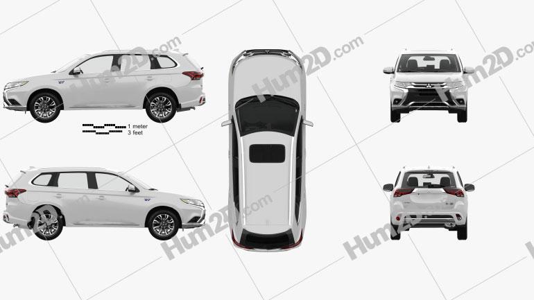 Mitsubishi Outlander PHEV with HQ interior 2015 car clipart