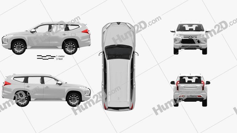 Mitsubishi Pajero Sport with HQ interior 2019 Clipart Image