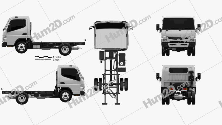 Mitsubishi Fuso Canter Wide Single Cab Chassis Truck L1 2016 Clipart Bild