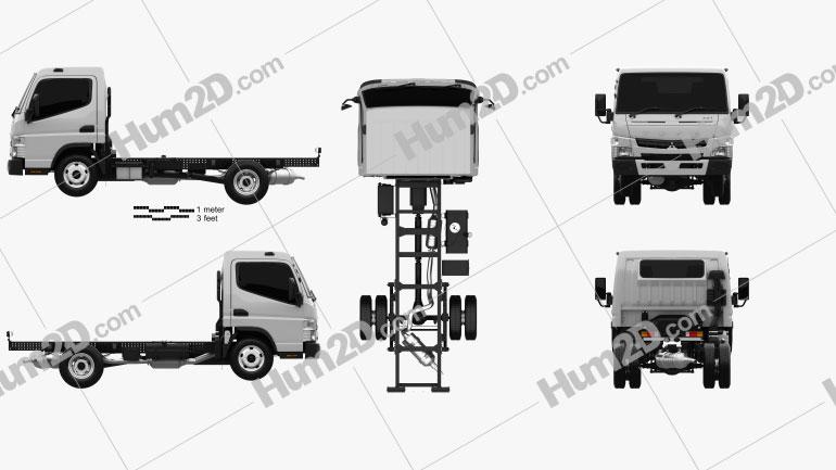 Mitsubishi Fuso Canter Wide Single Cab Chassis Truck L2 2016 clipart