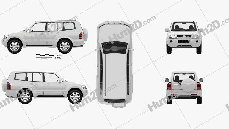 Mitsubishi Pajero 5-door with HQ interior 2005 car clipart