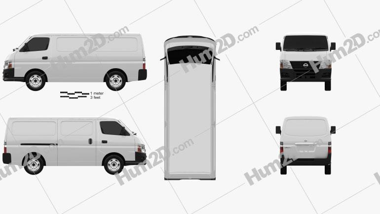 Nissan Urvan Panel Van Low Roof 2011 clipart
