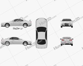 Nissan Skyline R34 GT-R coupe 1999 car clipart