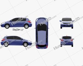 Nissan Tiida (C11) hatchback 2012 car clipart