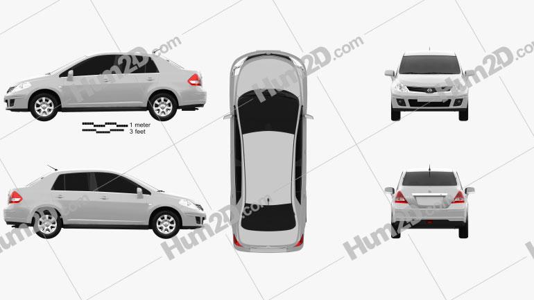 Nissan Tiida (C11) sedan 2012 Clipart Image