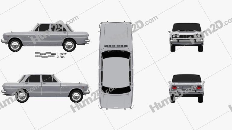 Nissan Skyline (S54) GT 1964 Clipart Image