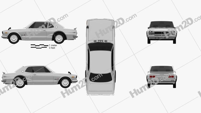 Nissan Skyline (C10) GT-R Coupe 1970 Clipart Image