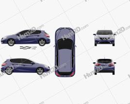 Nissan Pulsar hatchback 2014 car clipart