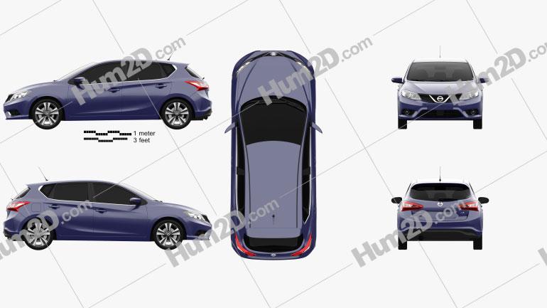 Nissan Pulsar hatchback 2014 Clipart Image