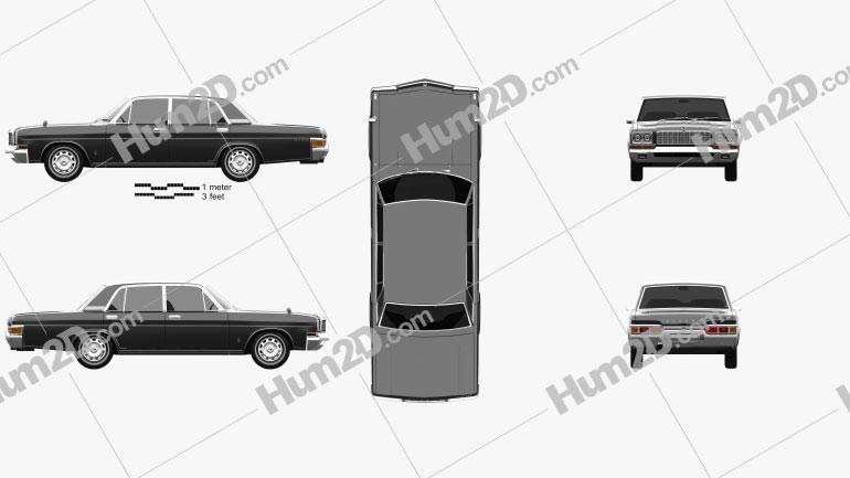 Nissan President Type D 1973 Clipart Image