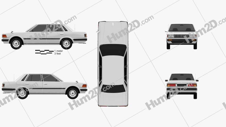 Nissan Cedric sedan 1984 Clipart Image