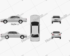 Nissan Cedric Brougham sedan 1995 car clipart