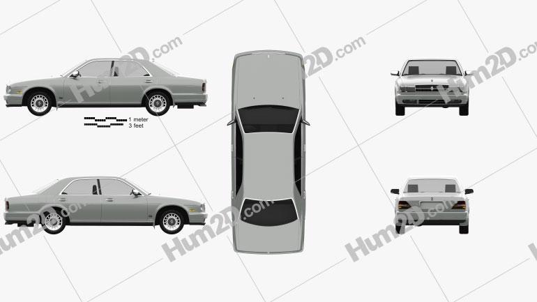 Nissan Cedric sedan 1991 car clipart