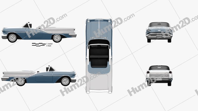 Oldsmobile Starfire 98 Convertible 1957 car clipart