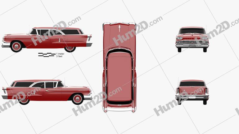 Oldsmobile Dynamic 88 Fiesta Holiday 1958 Clipart Bild