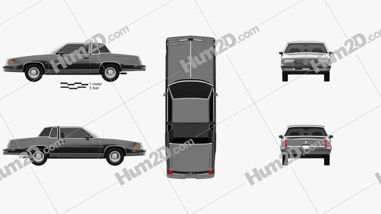 Oldsmobile Cutlass Supreme Brougham coupe 1987 car clipart