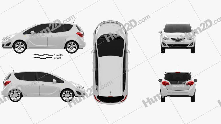 Opel Meriva B 2011 Clipart Image
