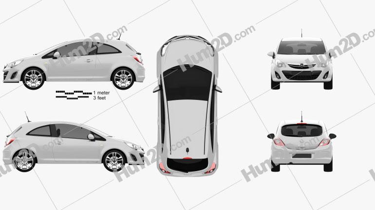 Opel Corsa 3-door 2011 Clipart Image