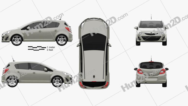 Opel Corsa D 5-door 2011 car clipart