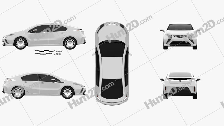 Opel Ampera 2011 Clipart Image