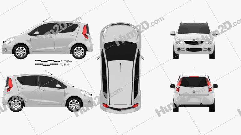 Opel Agila 2008 car clipart