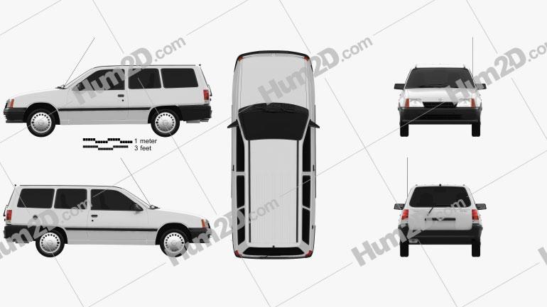 Opel Kadett E Caravan 3-door 1984 Clipart Image
