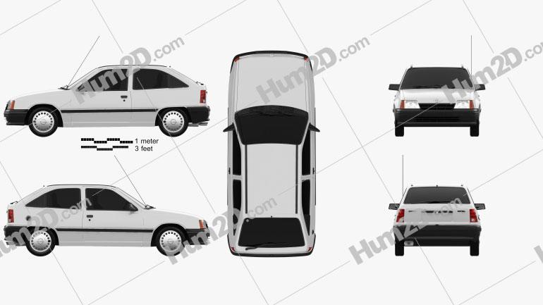 Opel Kadett E Hatchback 3-door 1991 Clipart Image