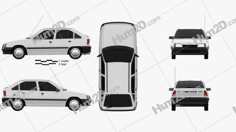 Opel Kadett E Hatchback 5-door 1991 Clipart Image