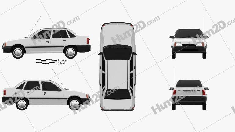 Opel Kadett E Sedan 1991 Clipart Image