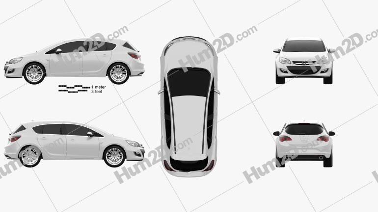 Opel Astra J hatchback 5-door 2012 car clipart