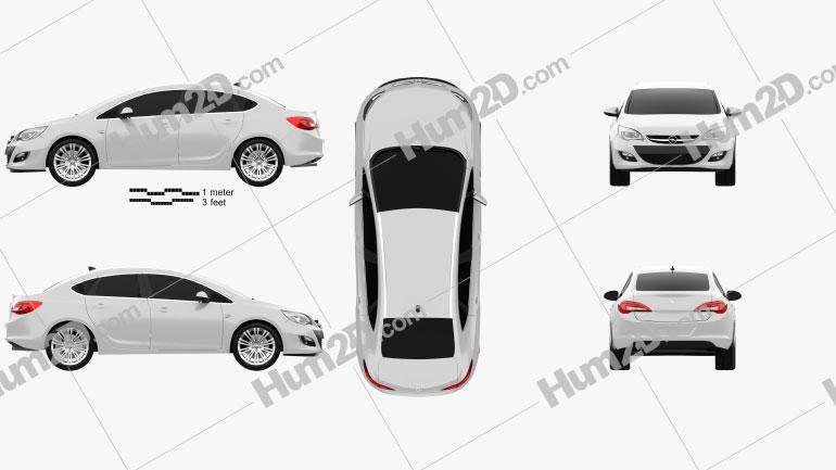 Opel Astra J sedan 2012 car clipart