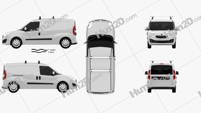 Opel Combo D Panel Van L2H1 2012 Clipart Image