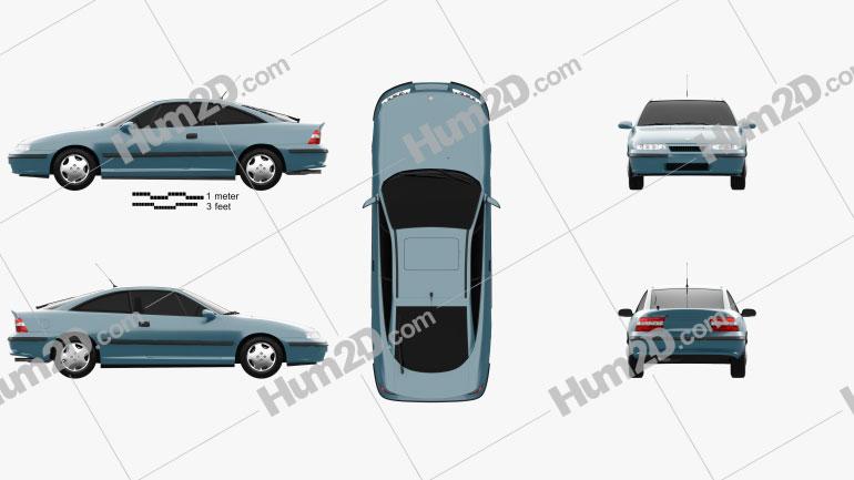 Opel Calibra 1990 car clipart