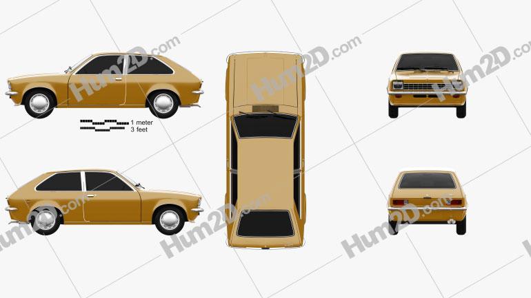 Opel Kadett City 1975 car clipart