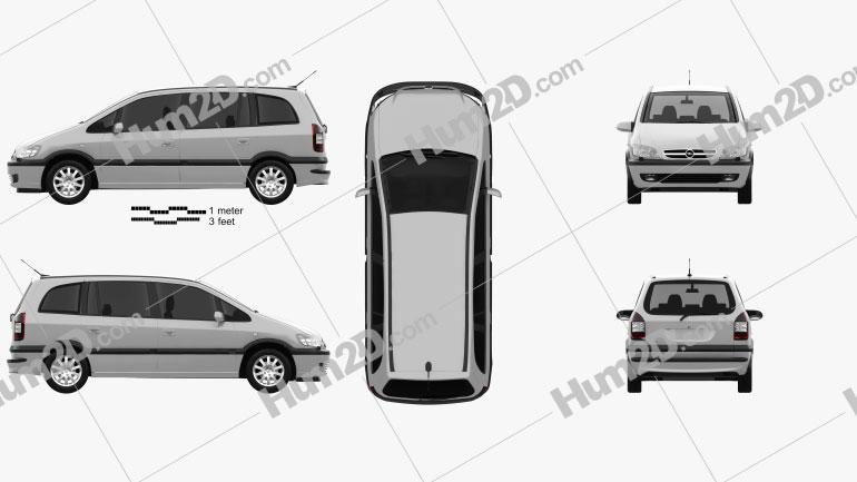 Opel Zafira (A) 2000 Clipart Image