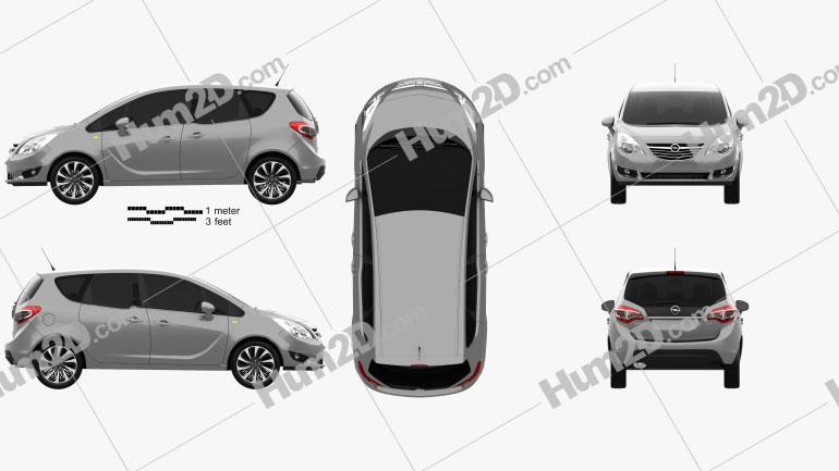 Opel Meriva (B) 2013 Clipart Image