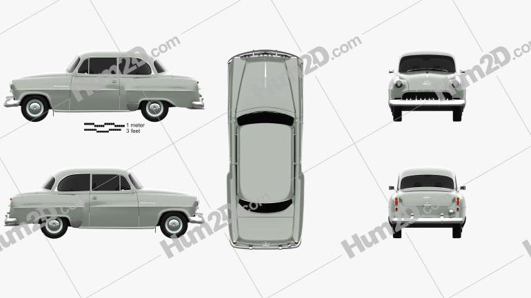 Opel Olympia Rekord 1956 car clipart
