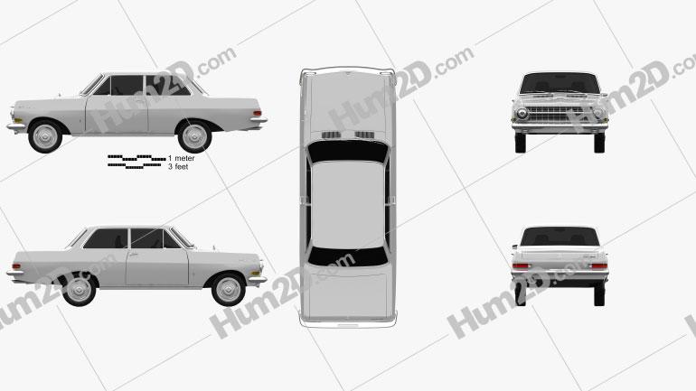 Opel Rekord (A) 2-door sedan 1963 car clipart